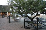 Hilltop Camp - Hluhluwe-Imfolozi Game Park - Back of restaurant with view over valley/mountains