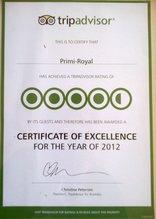 Primi Royal - Tripadvisor Certificate of Excellence