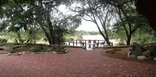 Nyala Safari Lodge - view towards viewing deck & river