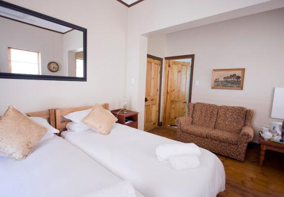 Twin beds available in the self-catering units or en-suite rooms