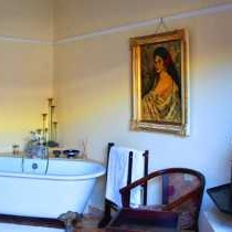 Bath with fireplace